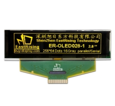 2.8 inch OLED Display 256x64 Graphic Module SSD1322 Yellow on Black ER-OLED028-1Y